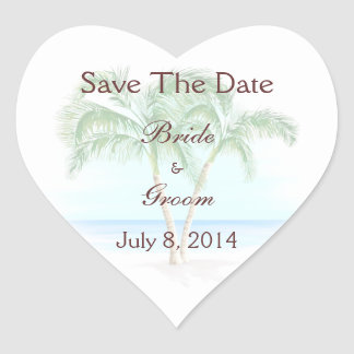 Beach And Palm Trees Wedding Save The Date Heart Sticker