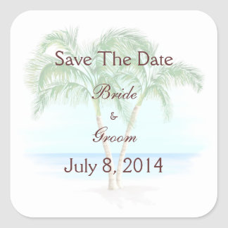 Beach And Palm Trees Wedding Save The Date Square Sticker