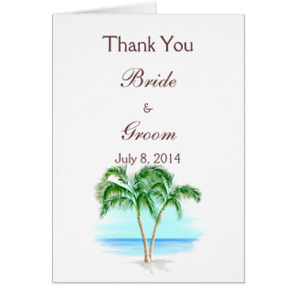 Beach And Palm Trees Wedding Thank You Card