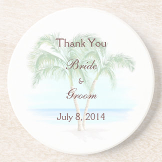 Beach And Palm Trees Wedding Thank You Beverage Coasters