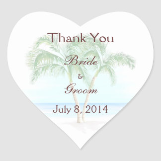 Beach And Palm Trees Wedding Thank You Heart Sticker