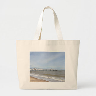 Beach And Pier At Southwold Suffolk Large Tote Bag