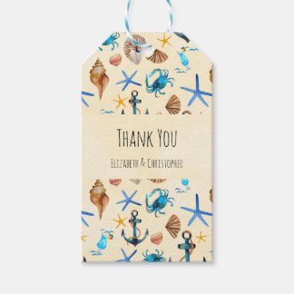 Beach And Sea Life Themed Pattern Thank You