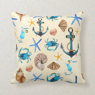Beach And Sea Life Themed Pattern Throw Pillow