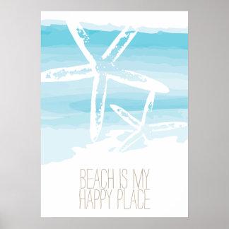 Beach and starfish   Poster