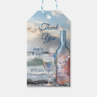 Beach and Wine Wedding Favor Thank You Gift Tag