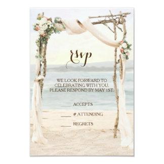 Beach Arbor Sunset Wedding Invitation RSVP Card