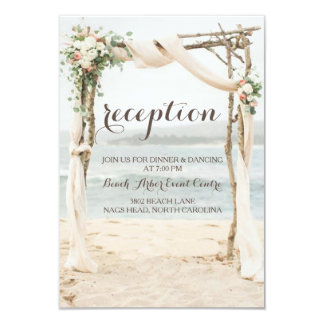 Beach Arbor Wedding Reception Card
