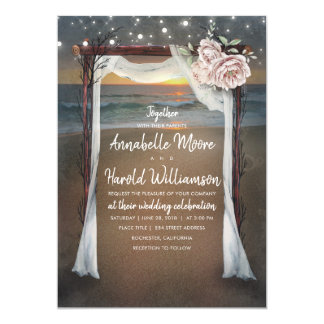 Beach Arch | Sea Sunset | String Lights Wedding Card