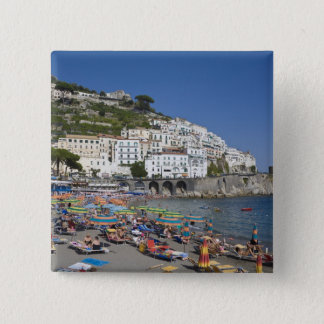 Beach at Amalfi, Campania, Italy 15 Cm Square Badge
