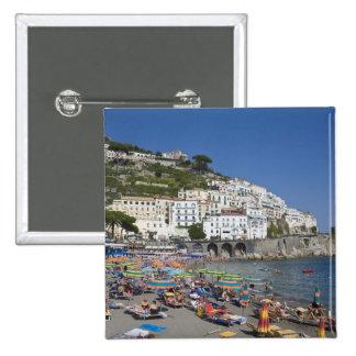 Beach at Amalfi, Campania, Italy 15 Cm Square Badge
