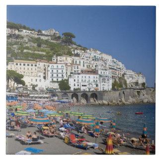 Beach at Amalfi, Campania, Italy Large Square Tile