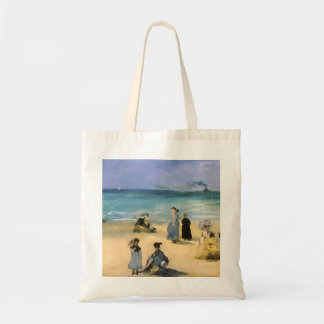 Beach at Boulogne by Manet, Vintage Impressionism Budget Tote Bag