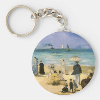 Beach at Boulogne by Manet, Vintage Impressionism Keychains