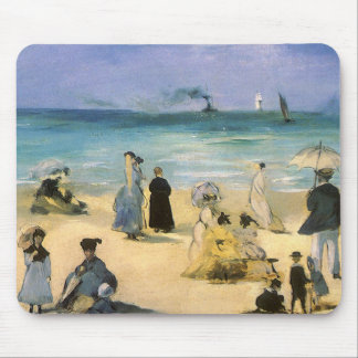 Beach at Boulogne by Manet, Vintage Impressionism Mouse Mat