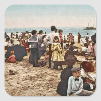 Beach At Coney Island, New York 1902 Vintage Square Sticker