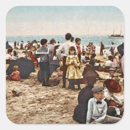Beach At Coney Island, New York 1902 Vintage Stickers