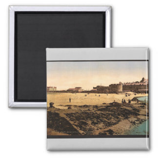 Beach at low tide, St. Malo, France vintage Photoc Square Magnet
