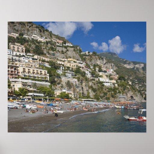 Beach at Positano, Campania, Italy Poster
