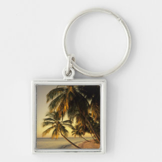 Beach at sunset, Trinidad Silver-Colored Square Key Ring