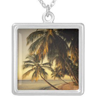 Beach at sunset, Trinidad Silver Plated Necklace