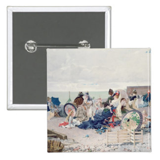 Beach at Yport, 1878 (oil on canvas) 15 Cm Square Badge