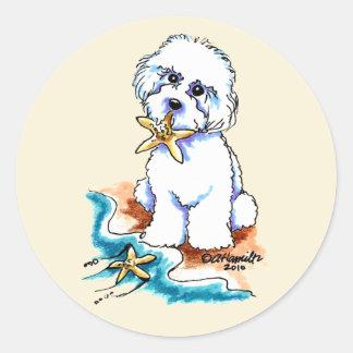 Beach Babe Bichon Frise Classic Round Sticker
