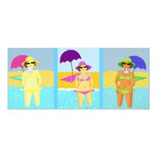 Beach babes 10 cm x 24 cm invitation card