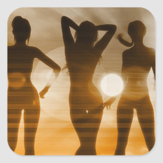 Beach Babes Sunset Silhouette Enjoying the Sun Square Sticker