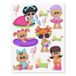 Beach Baby Kids blue pink play time tattoo