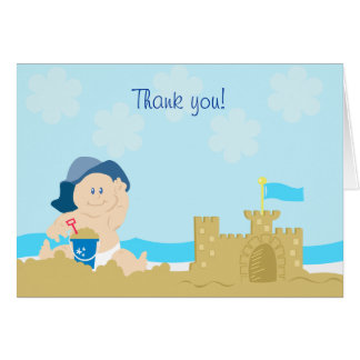 Beach Baby Sand Castle Boy Folded Thank you note Card