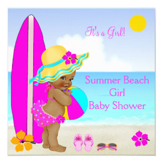 Beach Baby Shower Girl Pink Teal Blue Ethnic 13 Cm X 13 Cm Square Invitation Card