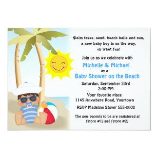 Beach Baby Shower with Sailor Baby 13 Cm X 18 Cm Invitation Card