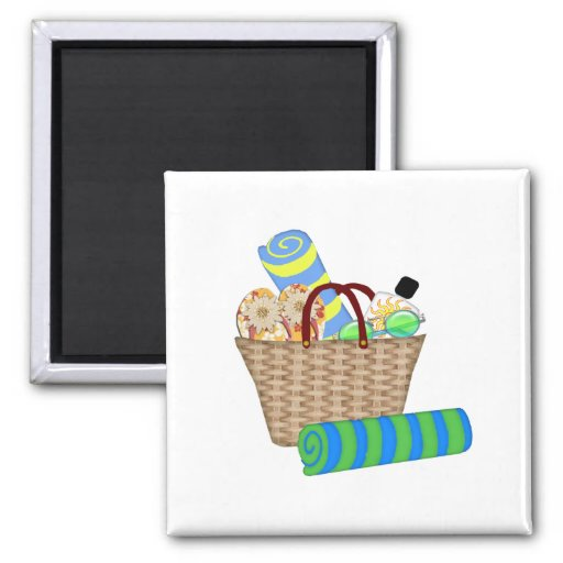 Beach Bag, Towels and Flip Flops Refrigerator Magnets