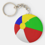 Beach Ball Basic Round Button Key Ring