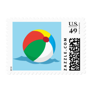 Beach ball floating on water summer postage stamp