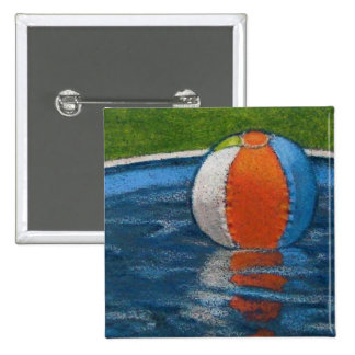BEACH BALL IN POOL DRAWING 15 CM SQUARE BADGE