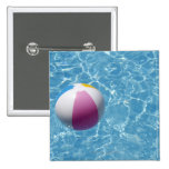 Beach ball in swimming pool 15 cm square badge