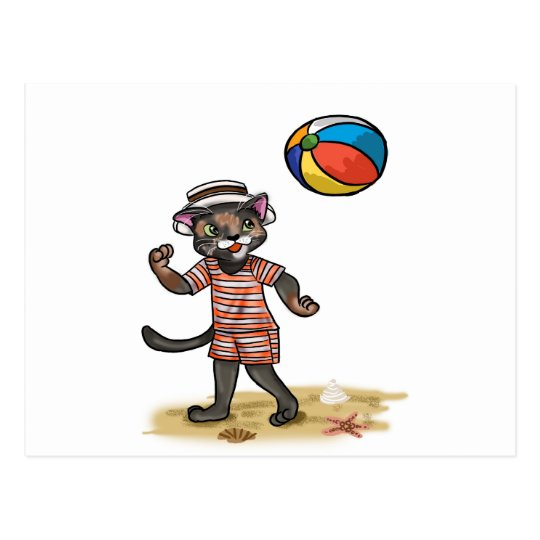 beach ball Kitty Postcard