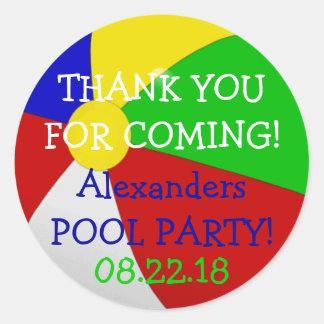 Beach Ball Pool Party Thank You Round Sticker