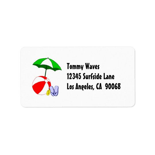 Beach Ball Pool Umbrella Address Label Template