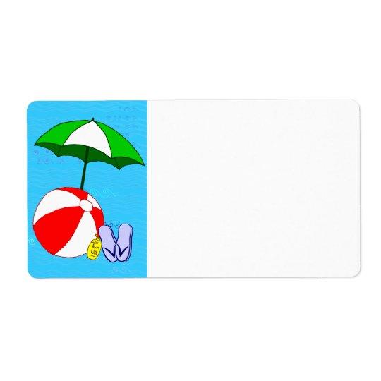 Beach Ball Pool Umbrella Blank Large Label Shipping Label