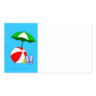 Beach Ball Pool Umbrella Business Card Template