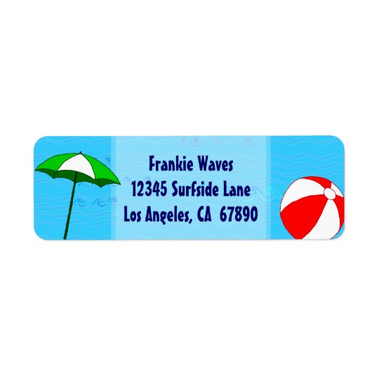 Beach Ball Pool Umbrella Custom Address Label