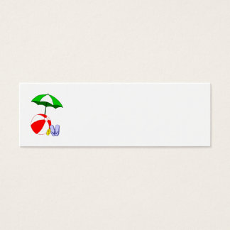 Beach Ball Pool Umbrella Template Mini Business Card