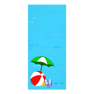 Beach Ball Pool Umbrella Template Custom Rack Cards