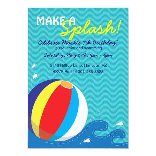 Beach Ball Swimming Birthday Pool Party Invitation