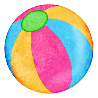 "Beach ball theme circle party invitations 5.25"" square invitation card"