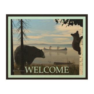 Beach Bears - Welcome Wood Print
