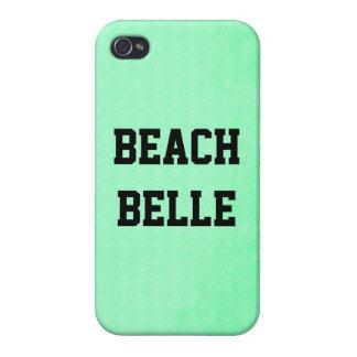 Beach Belle: Neon Teal Grunge Print iPhone 4 Case